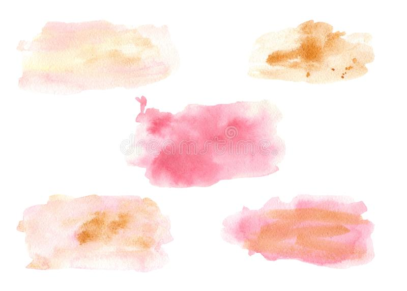 Akwarela punkty menchie i zieleń z złocistymi pluśnięciami royalty ilustracja