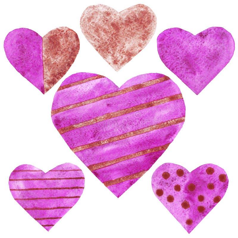 Akwarela purpurowa i bednarzów serca ustawiający kochamy ślubną walentynki royalty ilustracja
