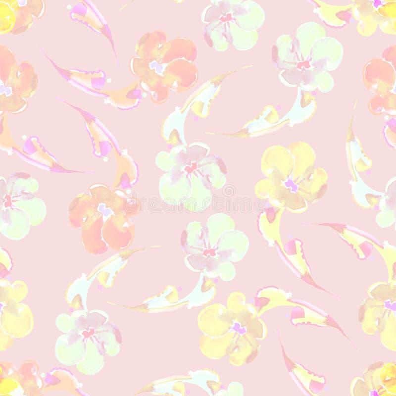 Akwarela różni kwiaty bezszwowy wzoru ilustracja wektor