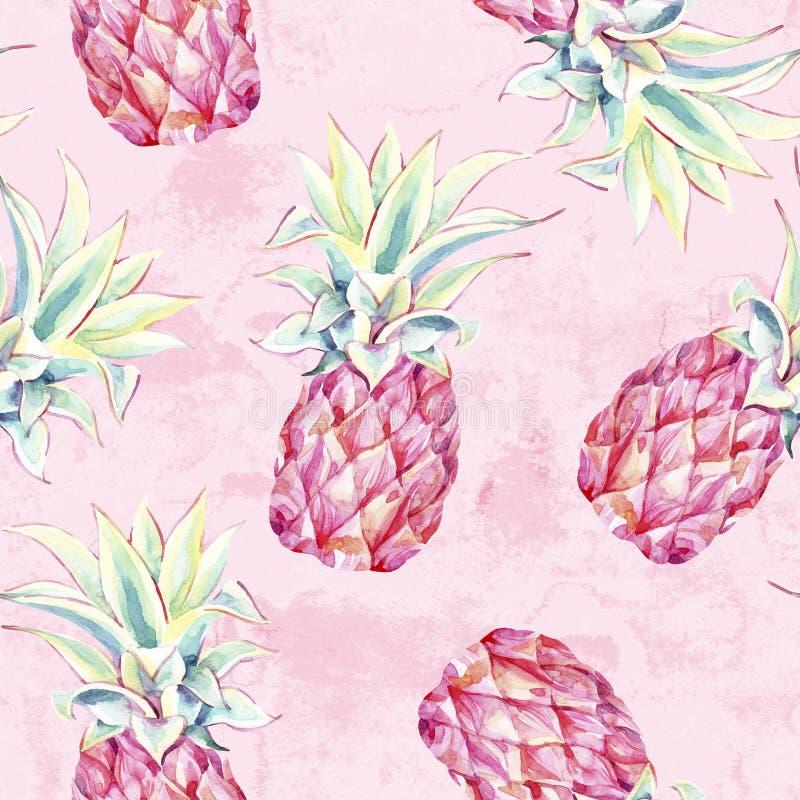 Akwarela różowi ananasy na grunge tle Artystyczny tropikalnej owoc bezszwowy wzór ilustracji