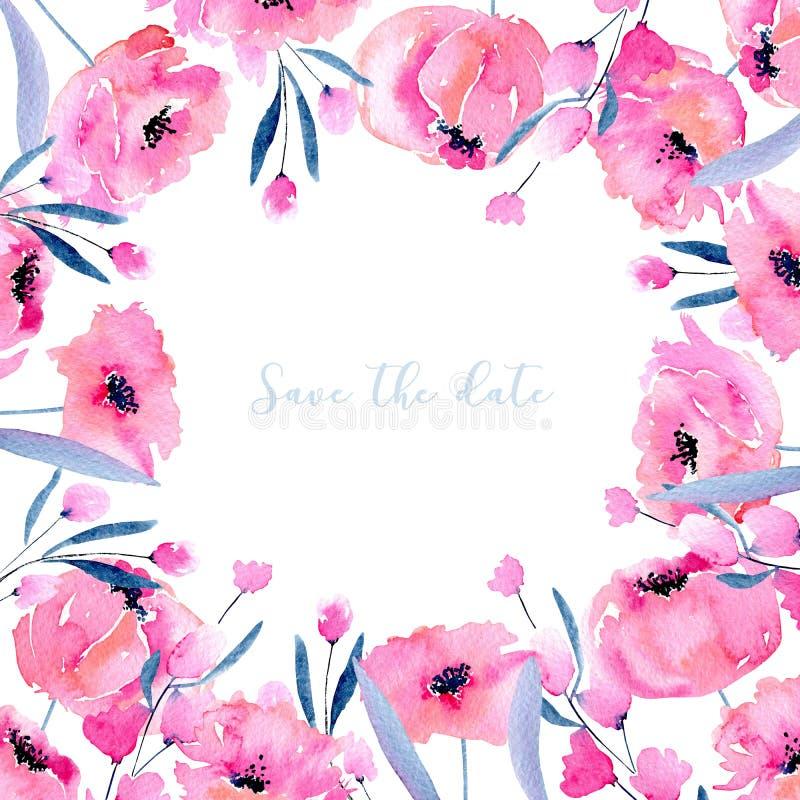Akwarela różowi maczki karciany szablon i kwieciste gałąź, ręka rysująca na białym tle, Save daktylowego karcianego projekt royalty ilustracja