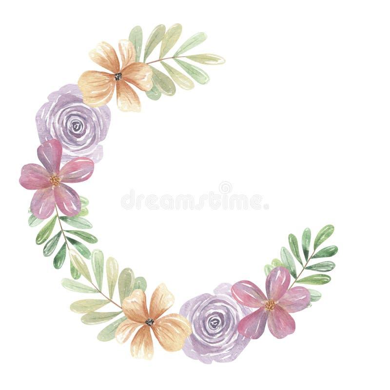 Akwarela Różowy Artystyczny wianek Kwitnie Kwieciste girland purpury Boho ilustracja wektor