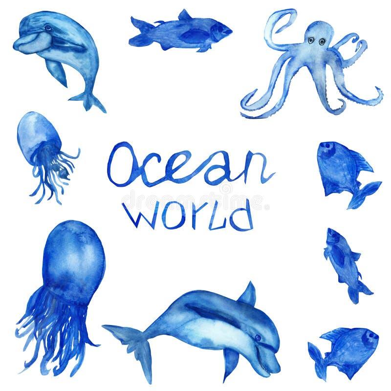 Akwarela ręcznie malowany, błękitna ośmiornica z czułkami, delfiny, jellyfish, ryba, literowanie, odizolowywający na białym tle ilustracja wektor