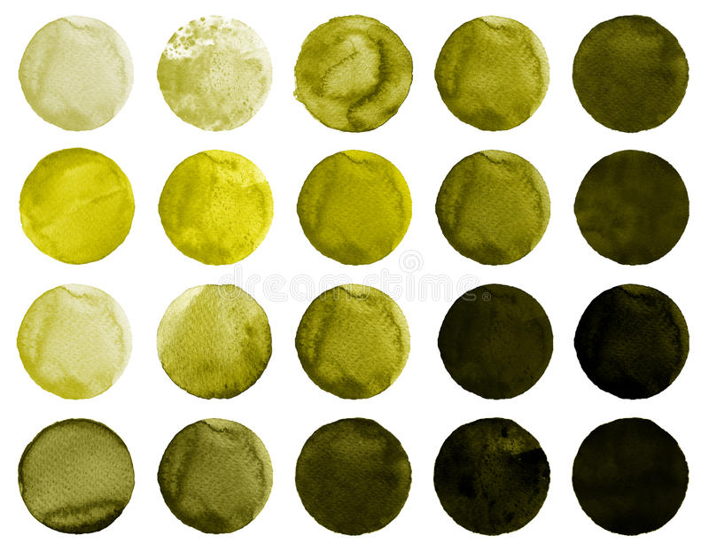 Akwarela ręka malujący okrąg Piękni projektów elementy Żółty tło royalty ilustracja