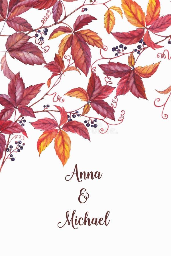 Akwarela ręka rysujący karciany szablon z jesieni tłem ilustracji