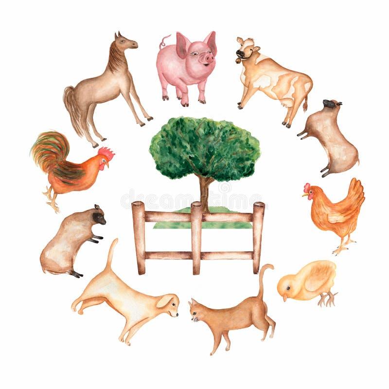 Akwarela r?ka rysuj?cy przedmioty w round i zwierz?ta gospodarskie stajnia drzewo, trawa, ogrodzenie, karmazynka, kurczak, kogut, ilustracji