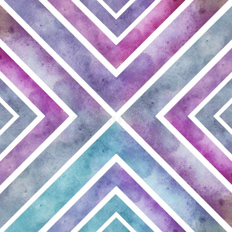Akwarela retro bezszwowy wzór z kwadratami, abstrakcjonistyczny ręki dr ilustracja wektor