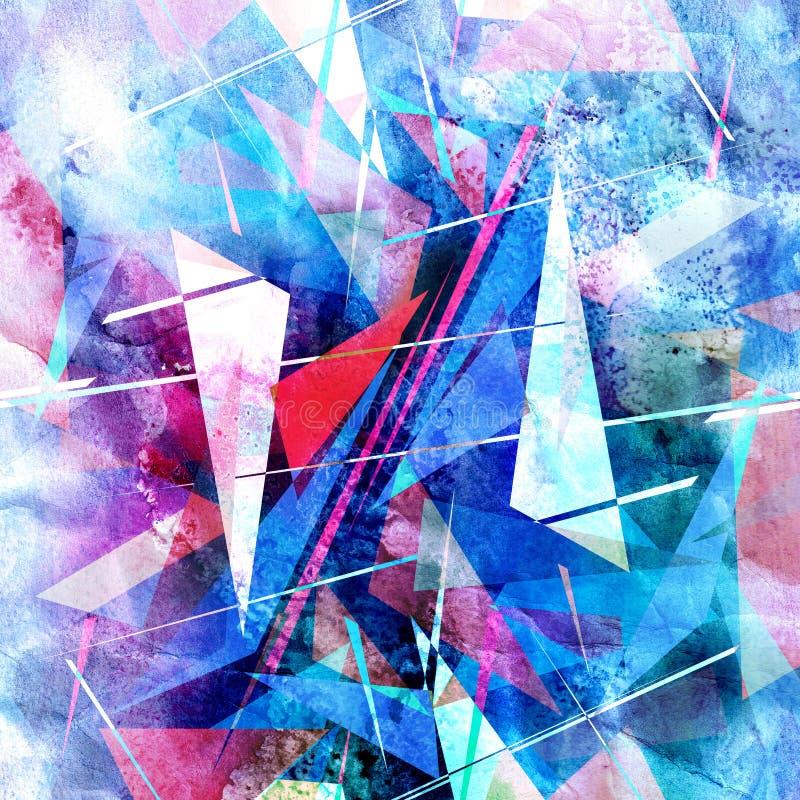Akwarela retro koloru abstrakcjonistyczny super geometryczny tło ilustracja wektor