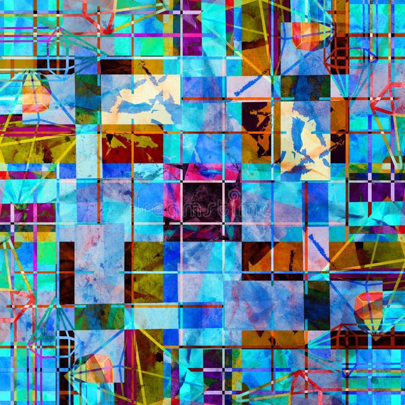 Akwarela retro koloru abstrakcjonistyczny super geometryczny t?o ilustracji