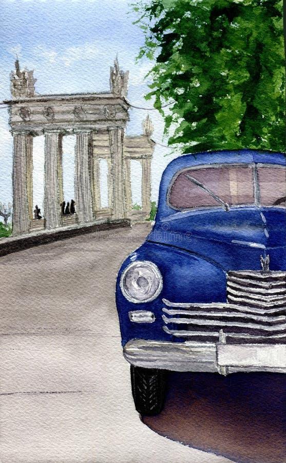 Akwarela retro samochód Wręcza patroszoną rocznik ilustrację z samochodem, miastem i drzewem, Dla projekta, tkaniny i tła, ilustracja wektor