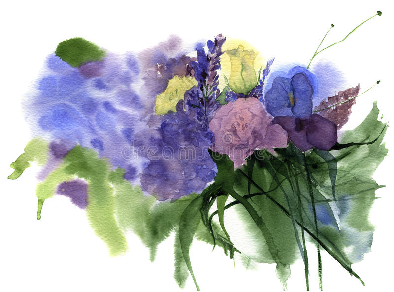 Akwarela rocznika ślubny bukiet kwiaty z wzrastał, bez, goździka kwiat i liście, rocznik kwiecisty tło projektu ilustracji