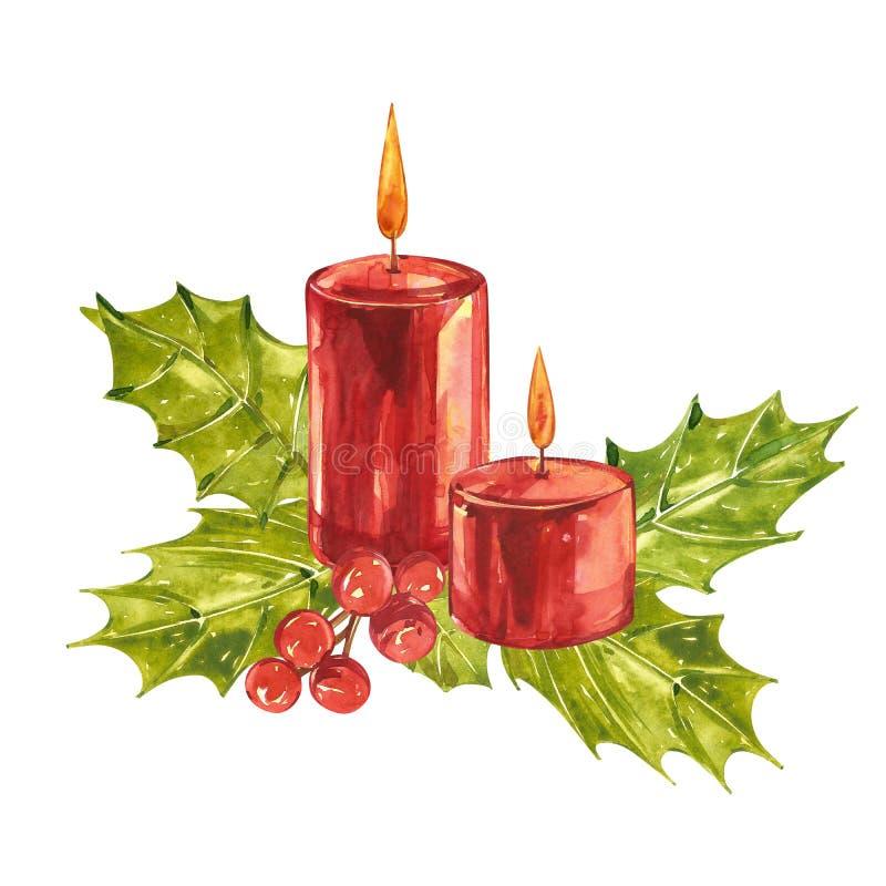 Akwarela rocznika bożych narodzeń ilustracje Bożenarodzeniowa świeczka, drzewo i dekoracje, projekt odizolowywający na białym tle royalty ilustracja