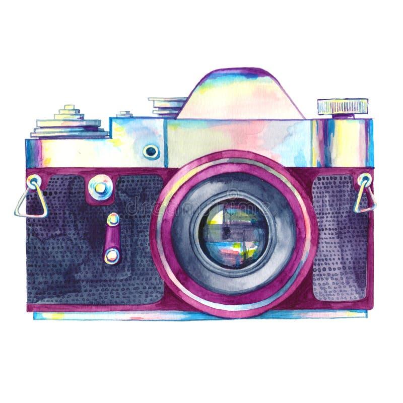 Akwarela rocznika fotografii kamera odizolowywająca ilustracji