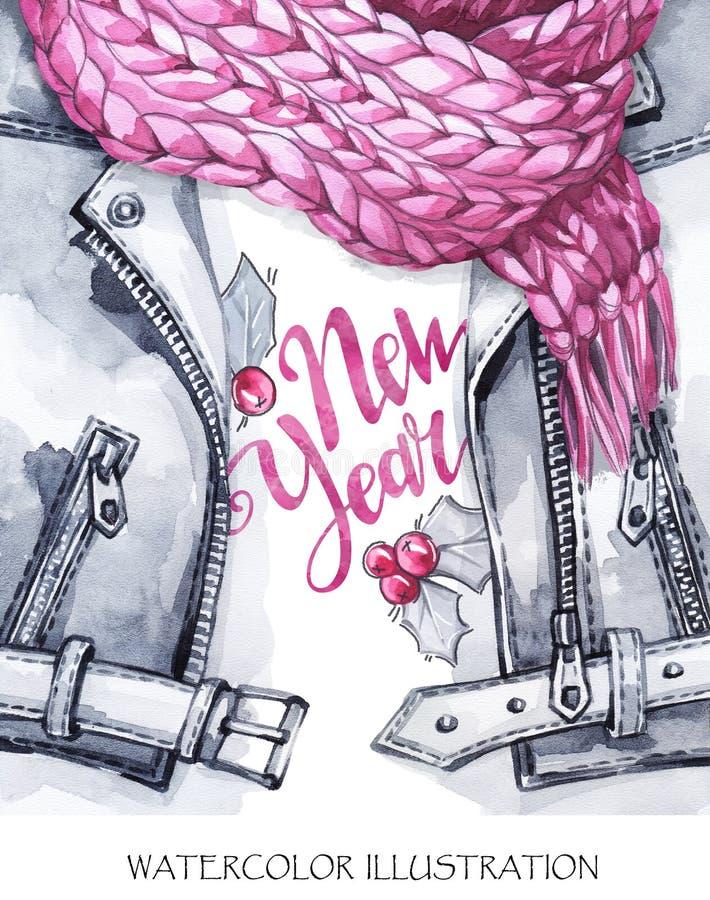Akwarela rocznika ilustracja Ciepły odzieży spojrzenie Ręka malująca skórzana kurtka, dziewiarski szalik i nowego roku druk, wewn ilustracji