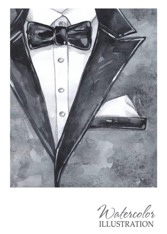 Akwarela rocznika ilustracja Ręka malujący kostium w mody pojęciu Stylowy mężczyzna royalty ilustracja