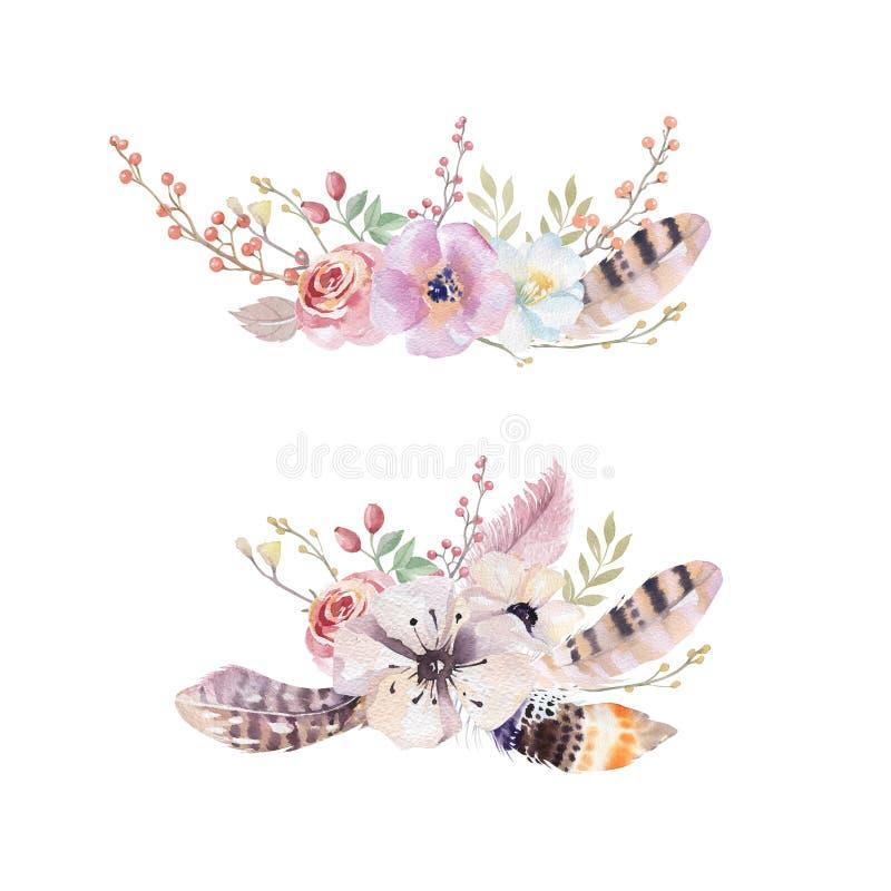 Akwarela rocznika kwiecisty bukiet Boho wiosny liść i kwiaty ilustracja wektor