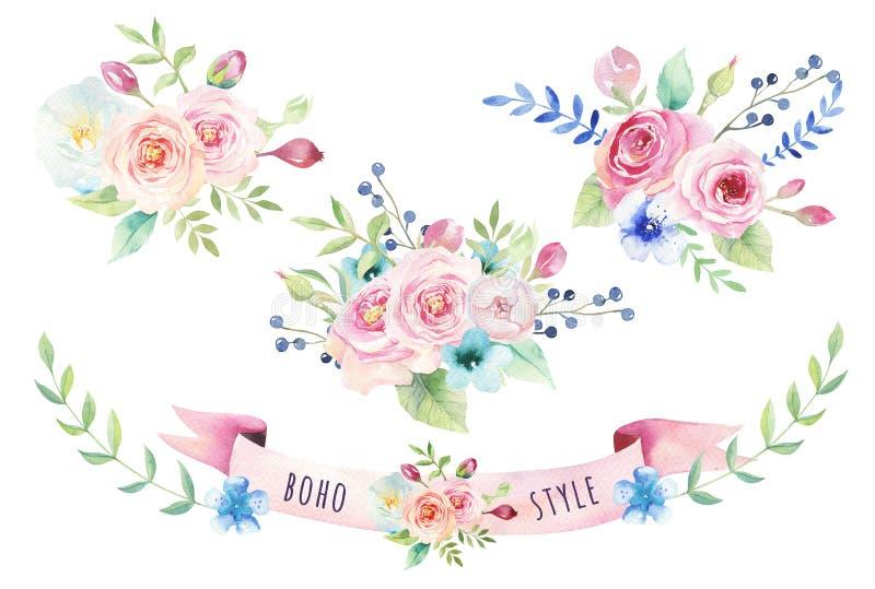 Akwarela rocznika kwiecisty bukiet Boho wiosny liść i kwiaty royalty ilustracja