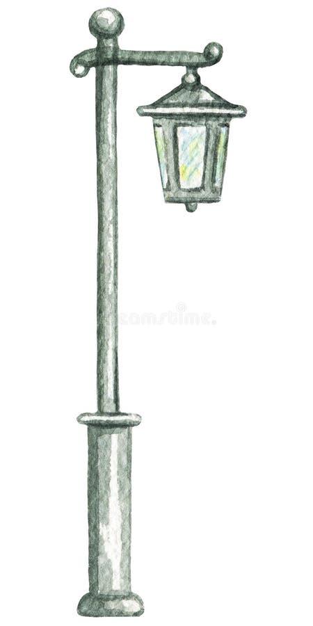 Akwarela rocznika latarnia uliczna royalty ilustracja