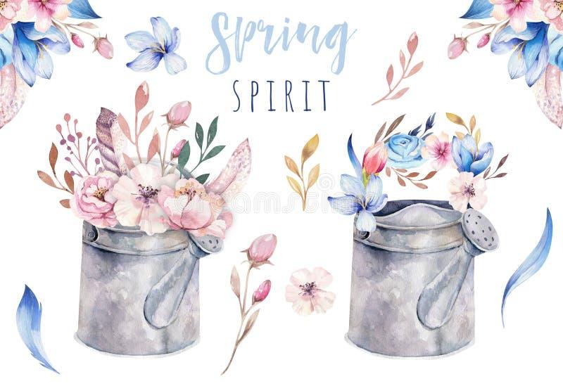 Akwarela rocznika ogrodnictwa narzędzi podlewania ośniedziała blaszana puszka dla nawadniać kwitnie Ręka rysująca odosobniona ilu ilustracji