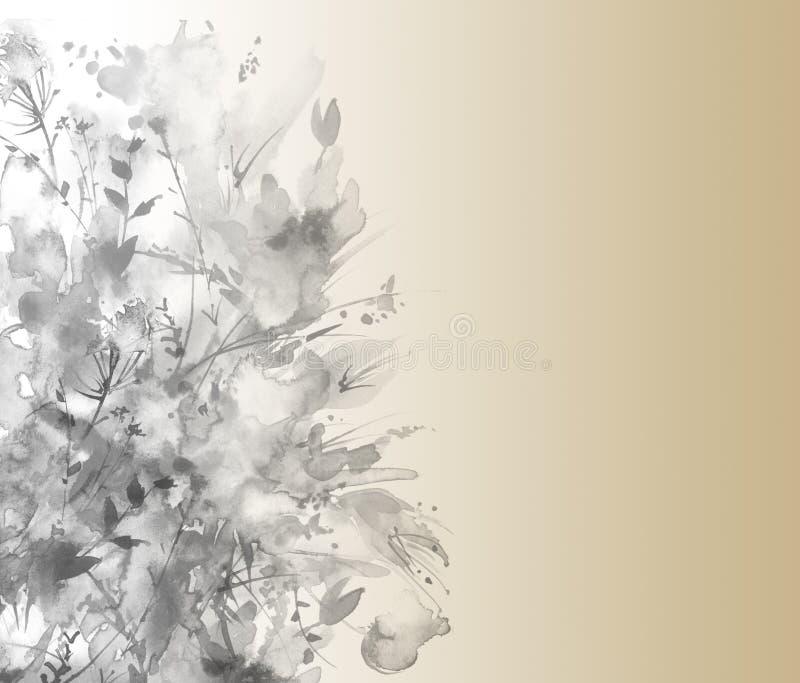 Akwarela rocznika poczt?wka, czer?, monochrom, szaro?? gr?pluje, obramia, Z obrazkiem wiosna kwiaty Ogrodowe ro?liny, tulipan cze ilustracja wektor