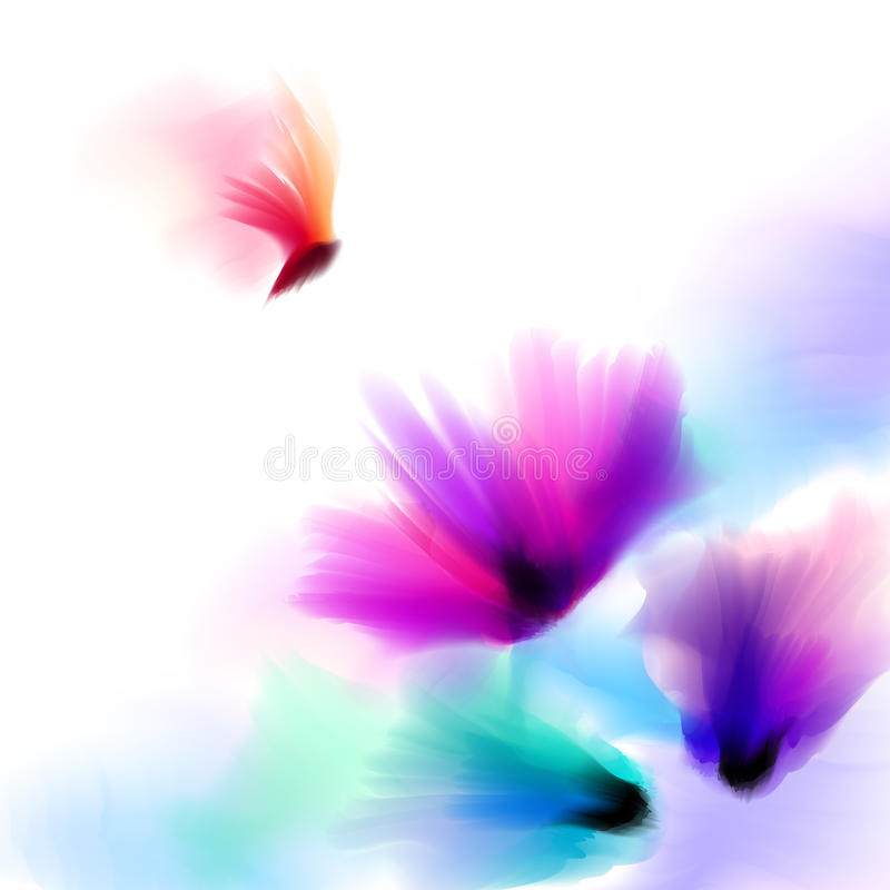 Akwarela romantyczny kwitnący maczek kwitnie odosobnionego ilustracyjnego szablon dla poślubiać, walentynki, matka dzień, urodzin zdjęcie royalty free