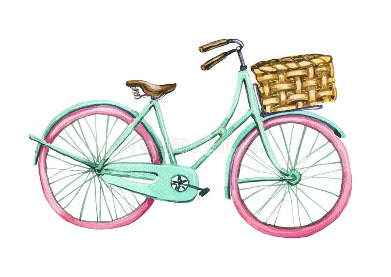 Akwarela rower Element kartka z pozdrowieniami Tiffany koloru bicykl Wiosna, podróż, helth styl życia royalty ilustracja