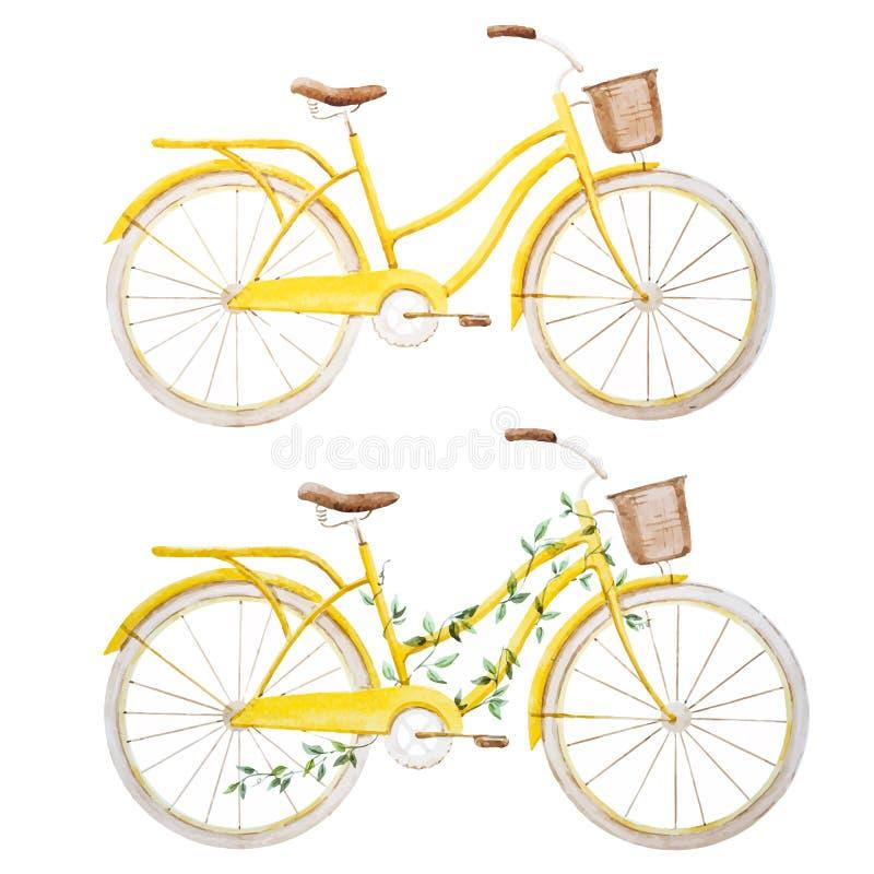 Akwarela roweru bicykl ilustracja wektor