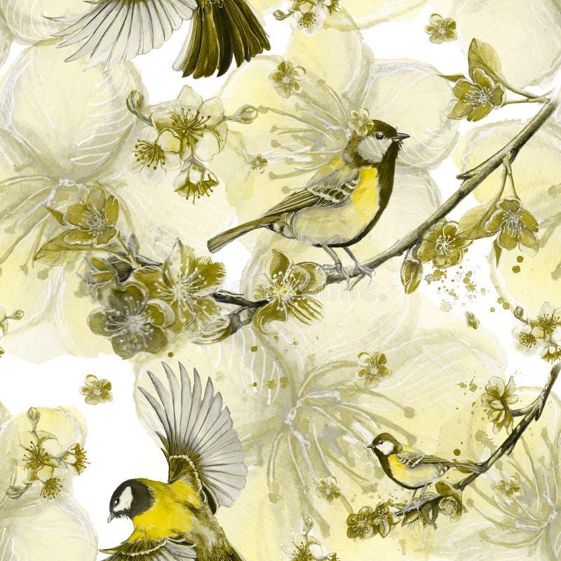 Akwarela rysuje bezszwowego wzór na temacie wiosna, upał, ilustracja ptak oddział wojskowy kształtujący wielcy tits ilustracja wektor