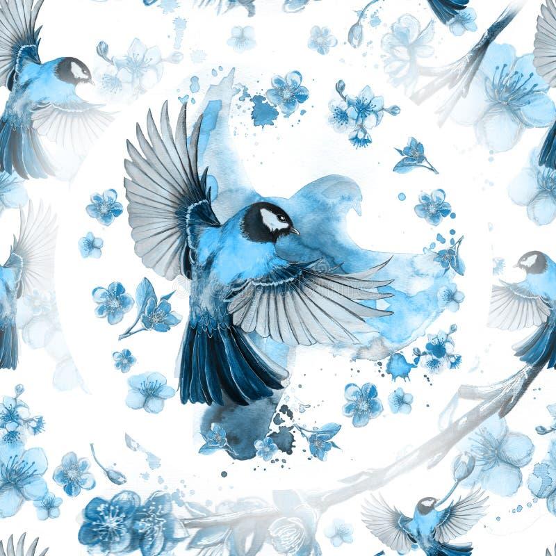 Akwarela rysuje bezszwowego wzór na temacie wiosna, upał, ilustracja ptak oddział wojskowy kształtujący wielcy tits ilustracji