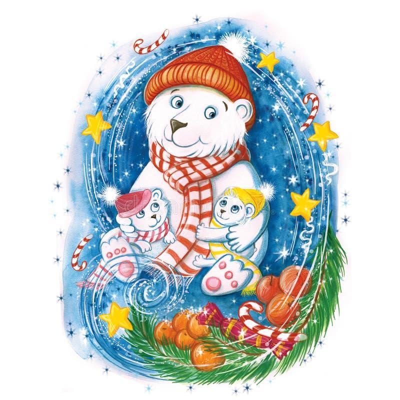 Akwarela rysunek nowego roku niedźwiedź polarny z dziećmi, w ciepłych kolorowych kapeluszach z choinką, pomarańczami i cukierkami royalty ilustracja