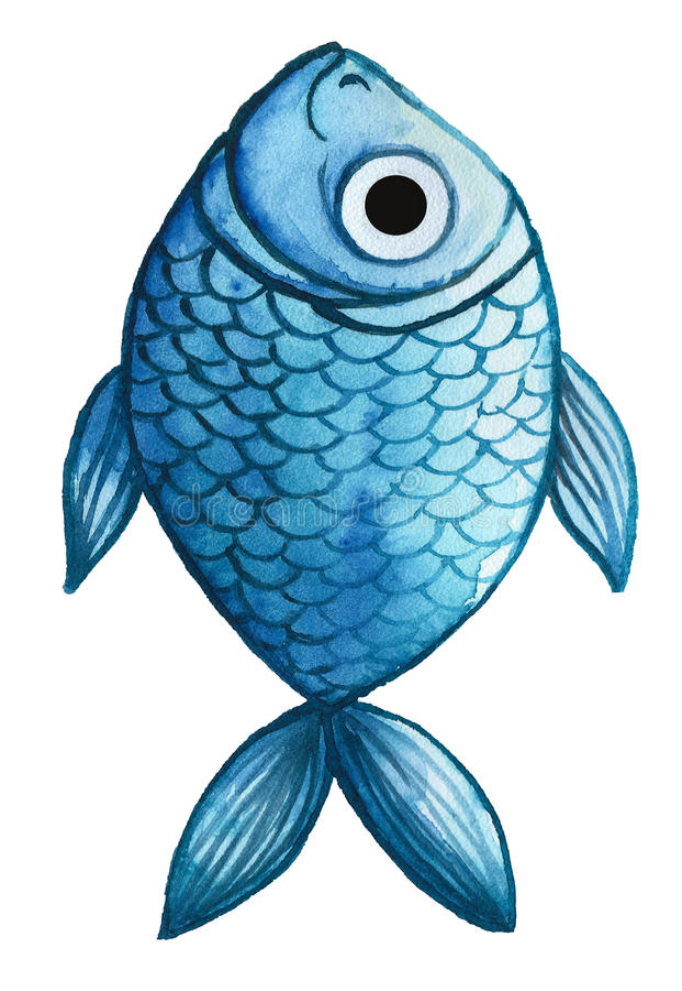 Akwarela rysunek ryba, błękit, błękit ryba w stylu dziecka ` s rysunku, ilustracja wektor