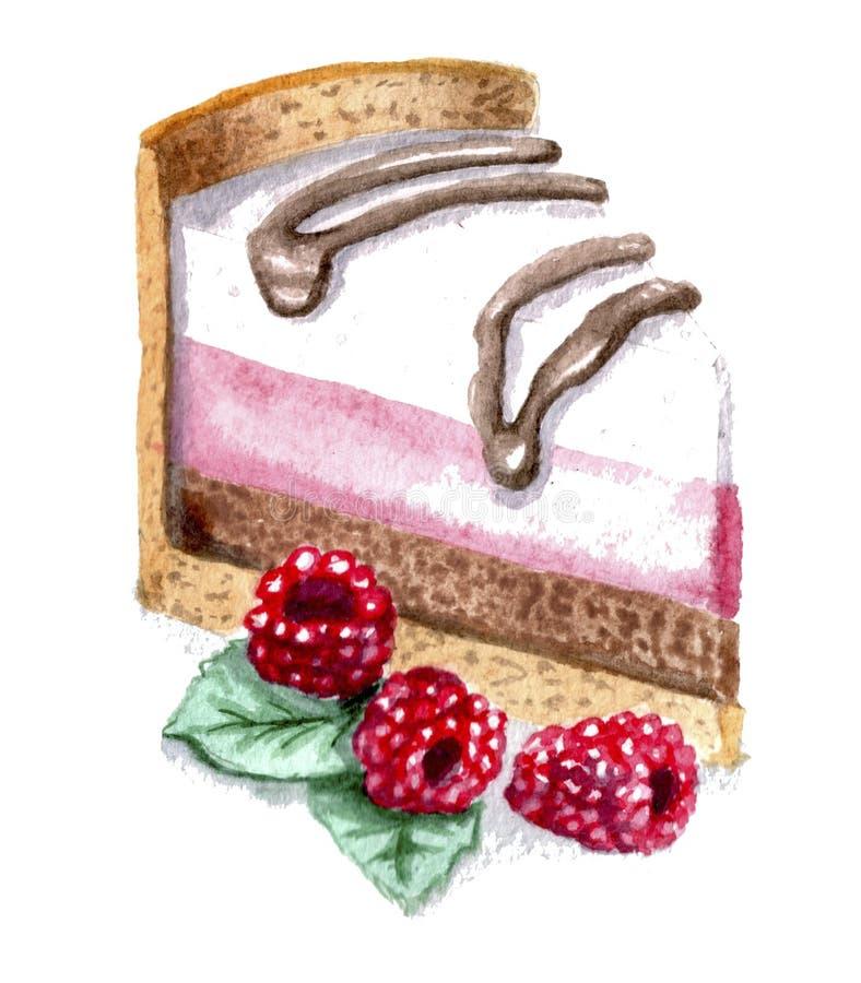 Akwarela rysunkowy kawałek tort z malinkami ilustracji