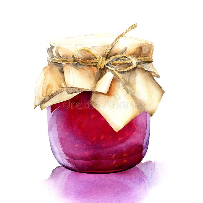 Akwarela słój z czerwonym jagoda dżemem ilustracja wektor