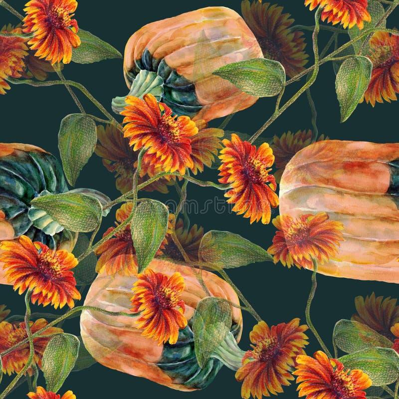 Akwarela słoneczniki z banią Bezszwowy wzór na ciemnym tle ilustracja wektor
