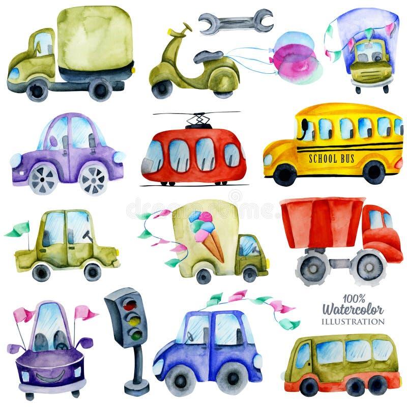 Akwarela samochody kolekcja i elementy, ilustracja dla dzieciaków royalty ilustracja