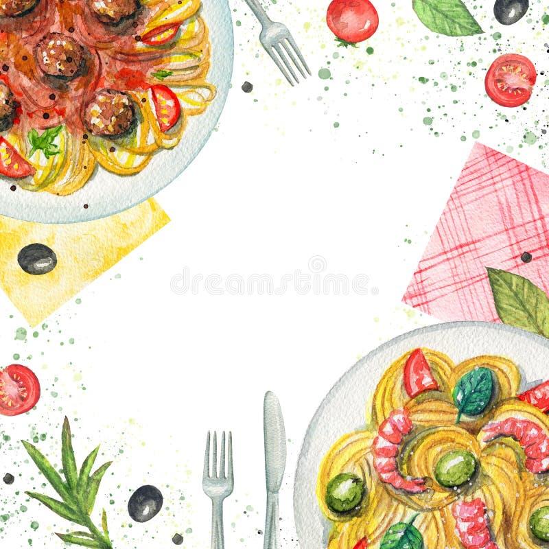 Akwarela skład z makaronem, pieluchami, warzywami i stołem, ilustracji