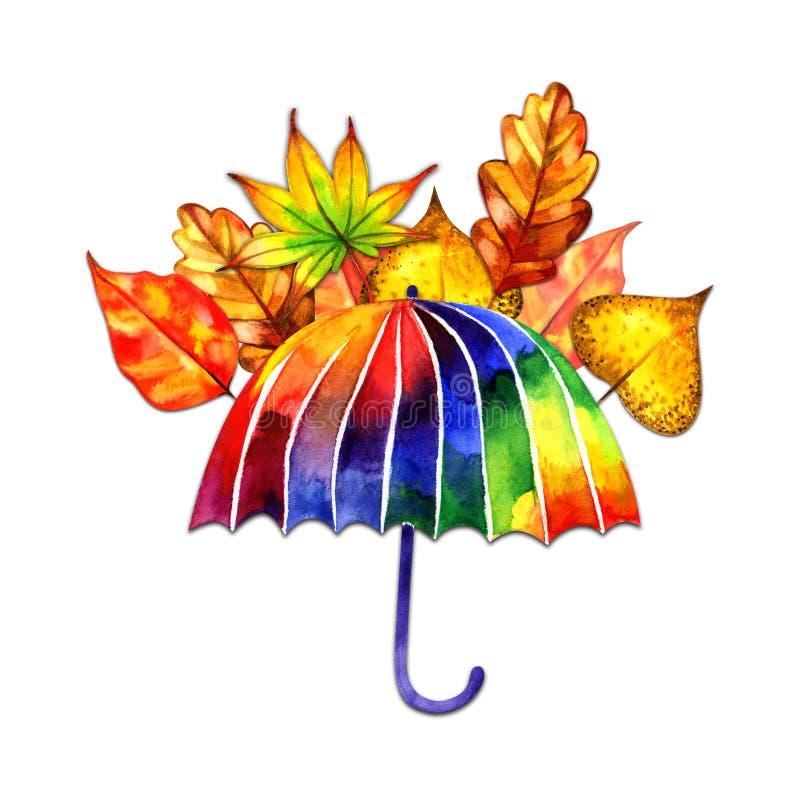 Akwarela skład z tęcza parasolem i jesień liśćmi Doskonali? dla kartka z pozdrowieniami, ?lubni zaproszenia zdjęcia royalty free