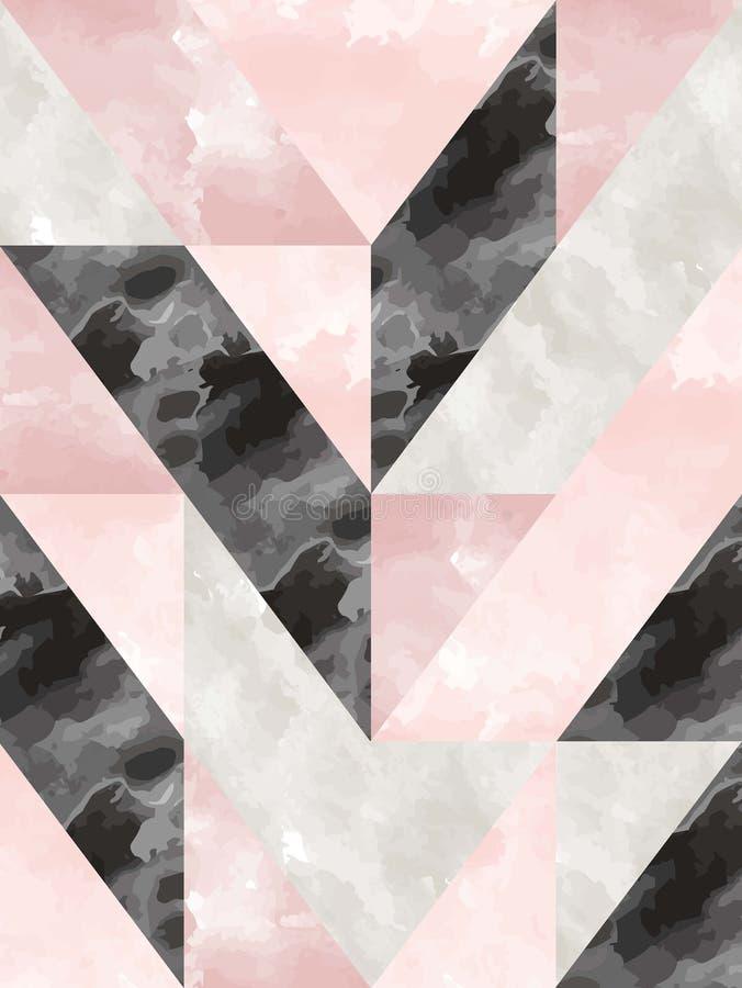 Akwarela skutka wektoru geometryczna płytka w czerni, popielatej i pastelowej menchii, ilustracja wektor