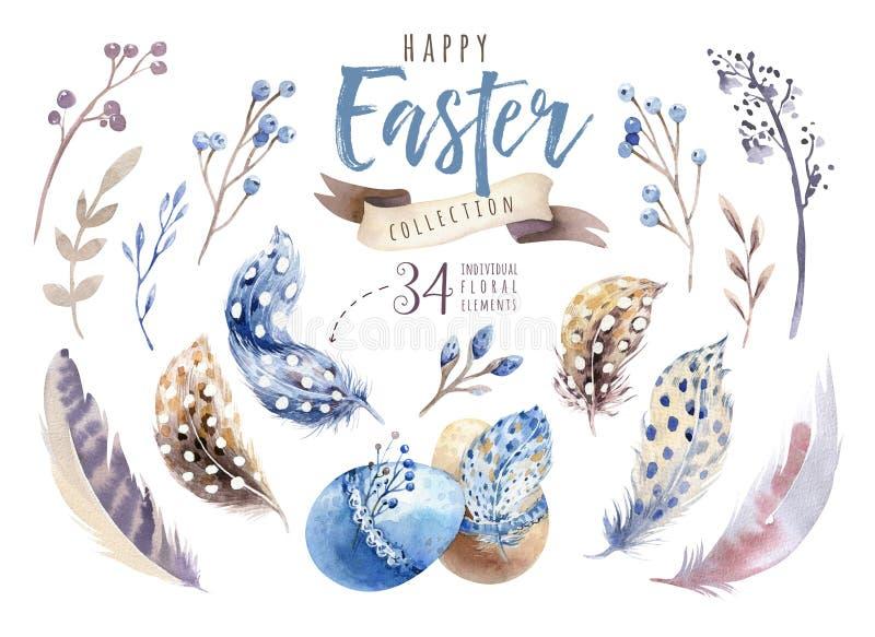 Akwarela szczęśliwy Easter ustawiający z kwiatami, piórkami i jajkami, Wiosna wakacje dekoracja Ręka rysujący Kwietnia boho proje royalty ilustracja