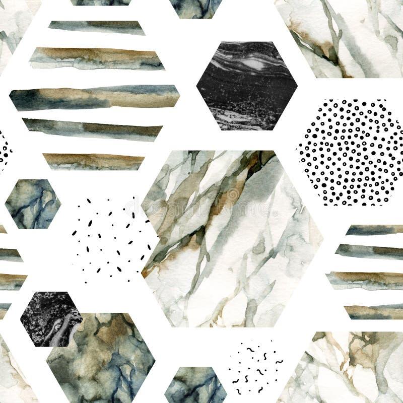 Akwarela sześciokąt z lampasami, wodnego koloru marmur, groszkujący, grunge, papierowe tekstury ilustracji