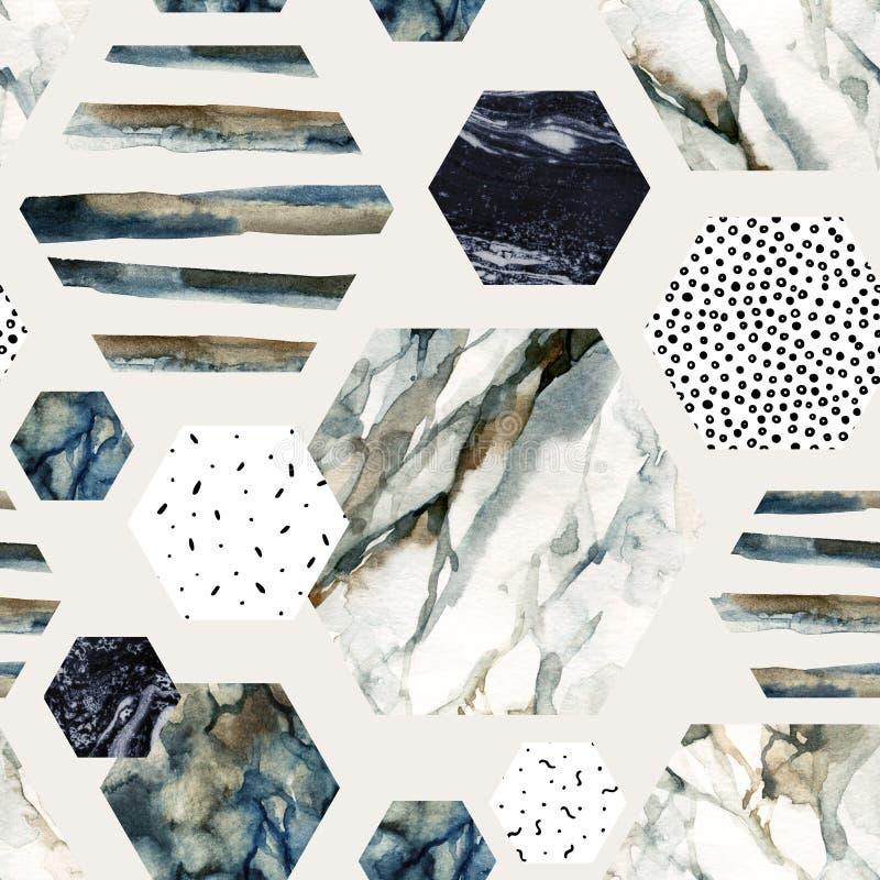 Akwarela sześciokąt z lampasami, wodnego koloru marmur, groszkujący, grunge, papierowe tekstury ilustracja wektor