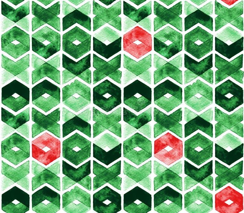 Akwarela szewron w zielonych i czerwonych kolorach na białym tle Abstrakcjonistyczny bezszwowy wzór dla bożych narodzeń i nowego  royalty ilustracja