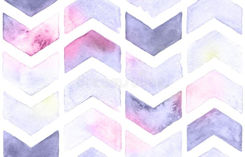 Akwarela szewron z białym tłem Bezszwowy wzór dla tkaniny ilustracji
