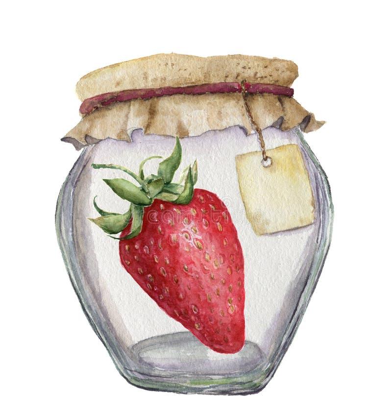 Akwarela szklany słój dla dżemu z etykietką dla truskawki i inskrypci tła cogwheel ilustraci odosobniony biel royalty ilustracja