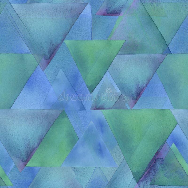 Akwarela trójboków raster bezszwowy wzór abstrakcyjny tło royalty ilustracja