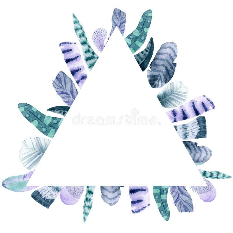 Akwarela trójboka piórkowa rama ilustracji