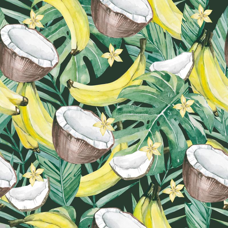 Akwarela tropikalni liście i lato owoc Bezszwowego deseniowego lata botanicznego owocowego banana, owoc plasterek, banana, kokoso royalty ilustracja