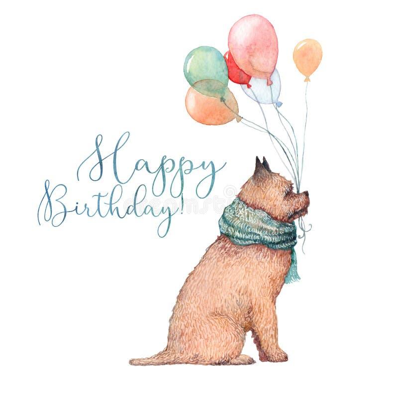 Akwarela urodziny pies ilustracji