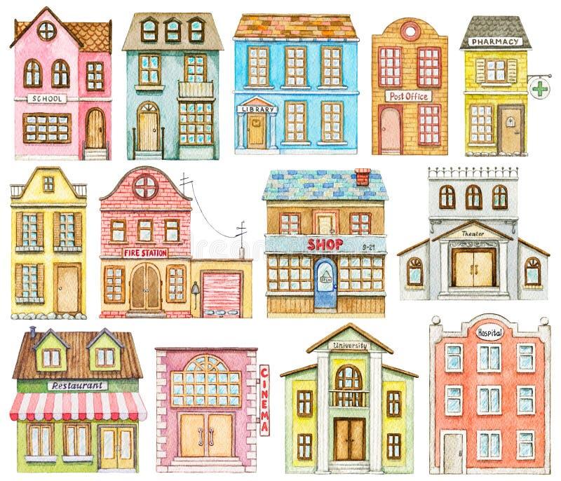 Akwarela ustawiaj?ca ?liczni kresk?wki miasta budynki ilustracji