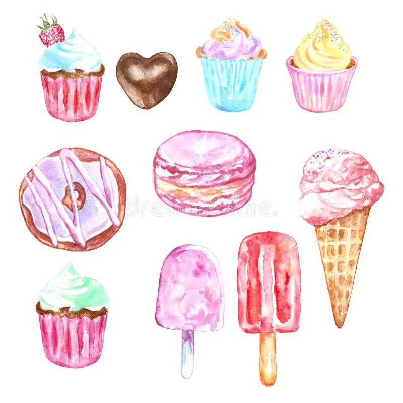 Akwarela ustawiająca cukierki i deser - lody w rożku, babeczki, donuts, macarons w pastelowych kolorach, odizolowywających ilustracji